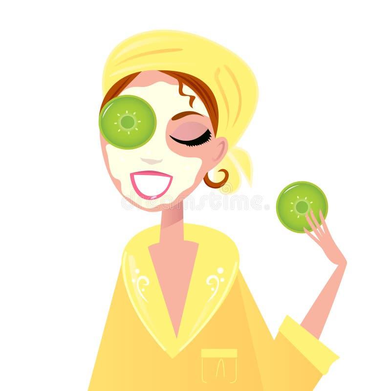 Cuidado de pele: Menina que tem a máscara do facial dos termas ilustração royalty free
