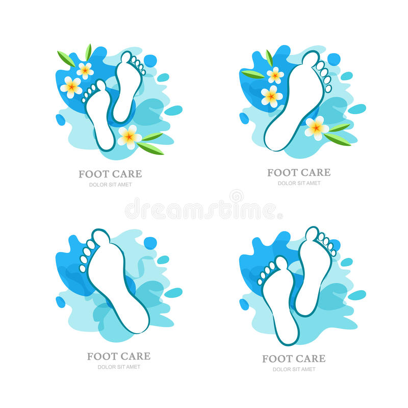 Cuidado de pie para mujer Sistema del logotipo, diseño de la etiqueta El lenguado y las flores femeninos en el agua salpican el f libre illustration