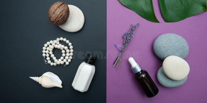 Cuidado de piel del concepto, visión superior, endecha plana Fondo bicolor hermoso con los cosméticos y los ingredientes naturale imagenes de archivo