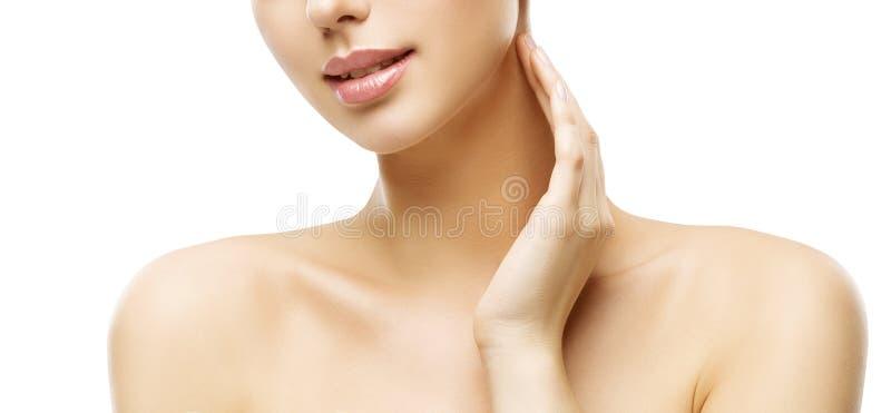 Cuidado de piel del cuello, maquillaje de la cara de la mujer y tratamiento de la belleza de los labios fotos de archivo libres de regalías