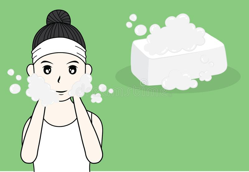 Cuidado de piel de la mujer y ejemplo de la belleza ilustración del vector