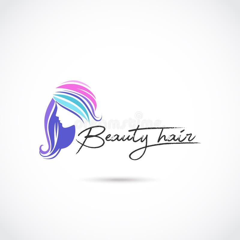 Cuidado del cabello Logo Design de la belleza Ilustrador EPS del vector 10 stock de ilustración