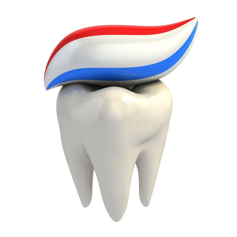 Cuidado dental - crema dental en el diente libre illustration