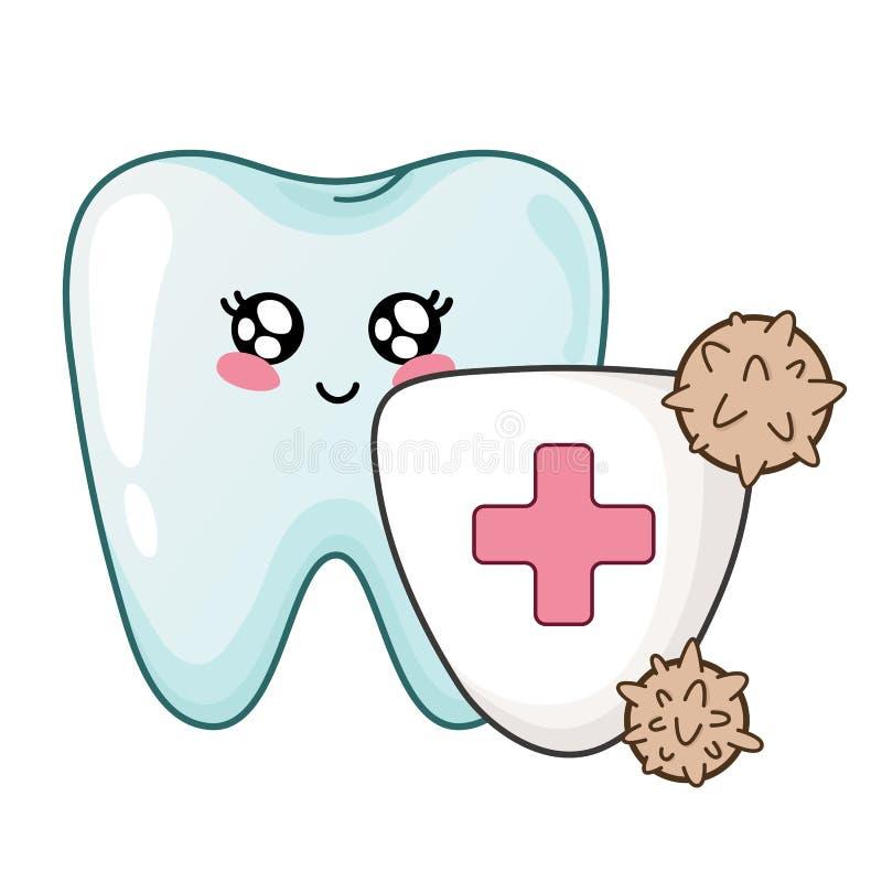 Cuidado dental de Kawaii stock de ilustración