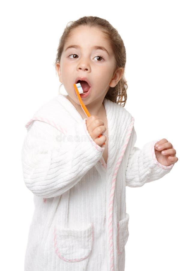 Cuidado dental - dentes de escovadela da criança fotos de stock royalty free