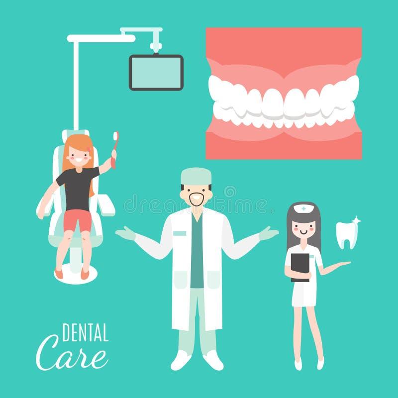 Cuidado dental Doctor y paciente del dentista en clínica dental médica Muchacha en silla del dentista gente de la historieta del  stock de ilustración