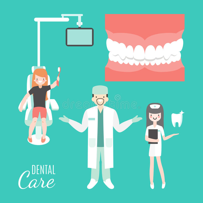 Cuidado dental Doutor e paciente do dentista na clínica dental médica Menina na cadeira do dentista povos dos desenhos animados d ilustração stock
