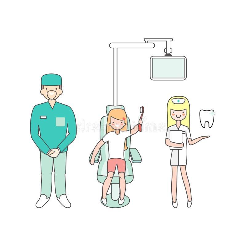 Cuidado dental Doutor, enfermeira e paciente do dentista na clínica dental médica Menina na cadeira do dentista povos dos desenho ilustração do vetor