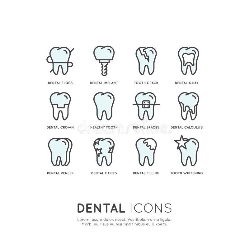 Cuidado dental y enfermedad, concepto del tratamiento, ortodoncia de la curación del diente ilustración del vector