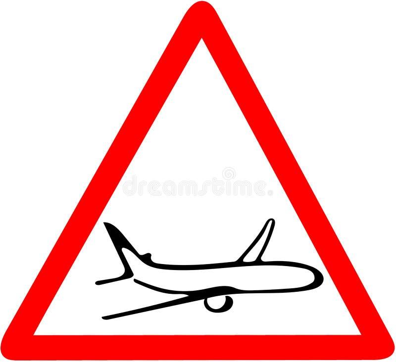Cuidado do avião que adverte o sinal triangular vermelho do mapa de estradas isolado no fundo branco ilustração stock