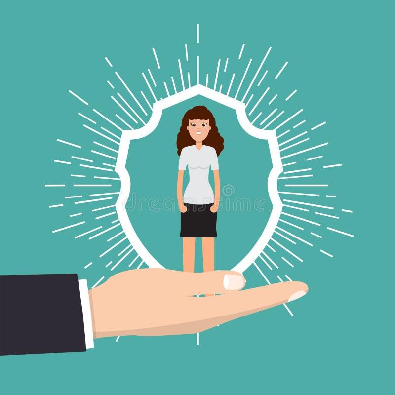 Cuidado do cliente, retenção ou conceito da lealdade O homem de negócios em uma mão guarda o cliente ilustração do vetor