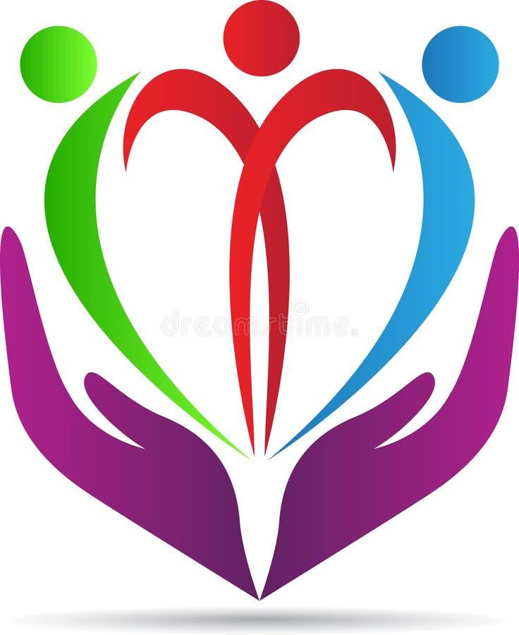 Cuidado do coração dos povos ilustração royalty free