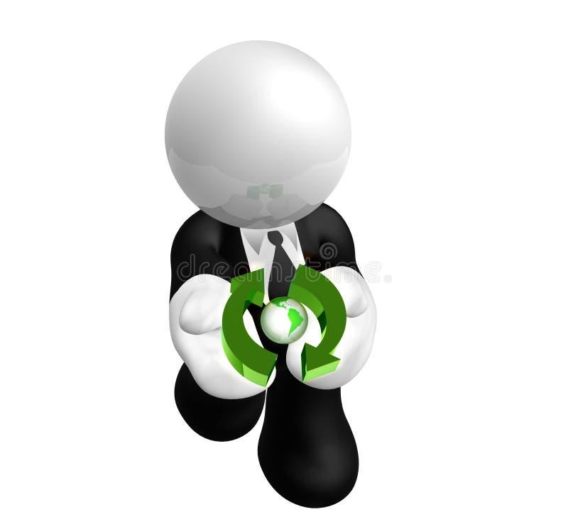 Cuidado do homem de negócios com o ambiente ilustração do vetor
