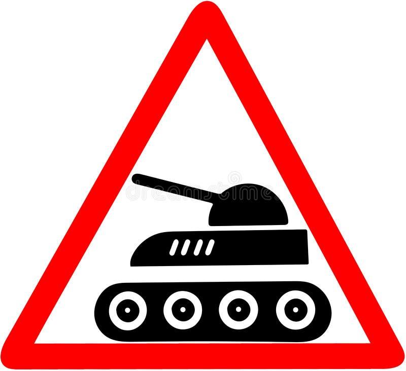 Cuidado do tanque que adverte o sinal de estrada triangular vermelho isolado no fundo branco ilustração stock