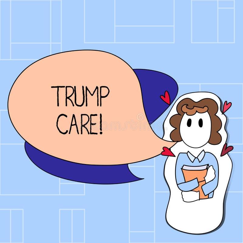 Cuidado do trunfo do texto da escrita O significado do conceito refere a substituição para o ato disponível do cuidado em Estados ilustração stock