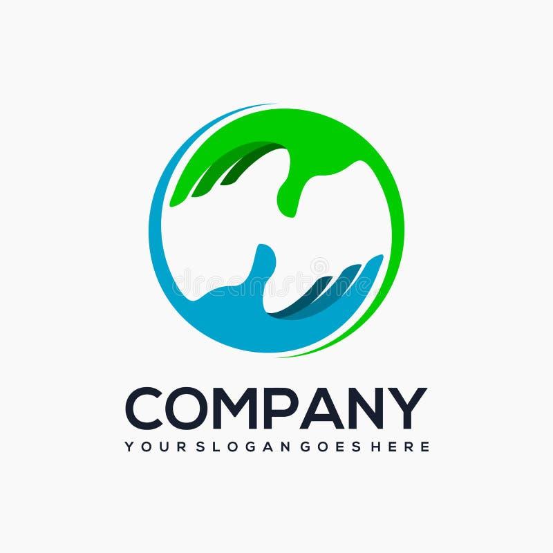 Cuidado e para agitar o projeto do logotipo ilustração do vetor