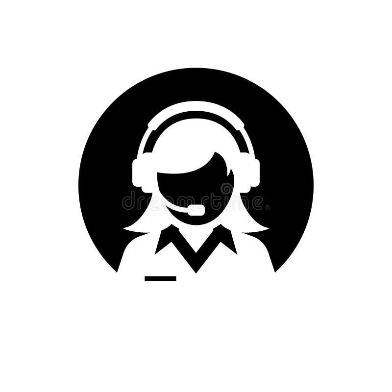 Cuidado fêmea do serviço de assistência/cliente/ícone silhueta do serviço ao cliente/administrador Ícone negativo do espaço do cí ilustração do vetor