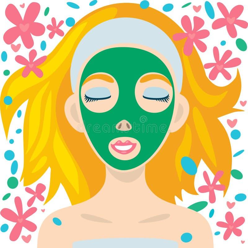 Cuidado facial stock de ilustración