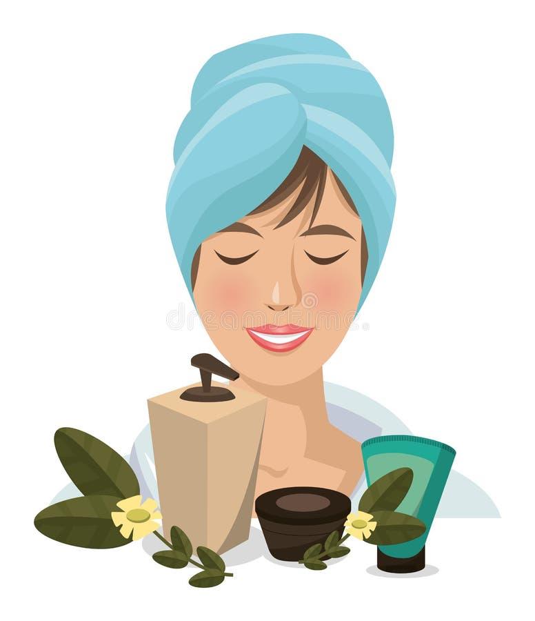 Cuidado facial del cuerpo de los productos de la toalla de la mujer del balneario libre illustration