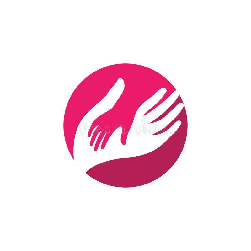 Cuidado Logo Design Template de la mano ejemplo del icono del vector del cuidado de la mano ilustración del vector