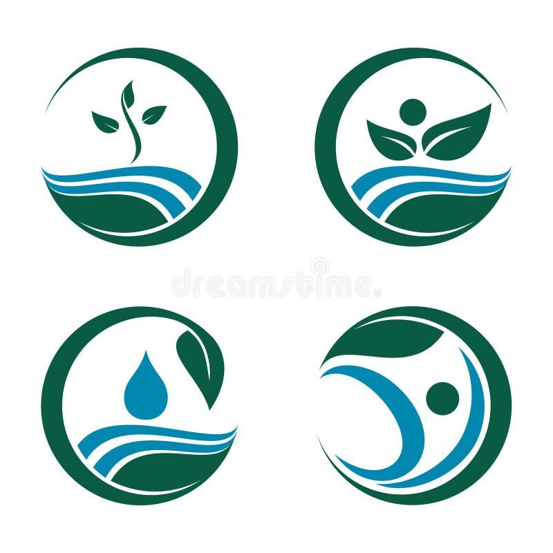 Cuidado Logo Symbol Template da natureza da água da semente da planta ilustração stock