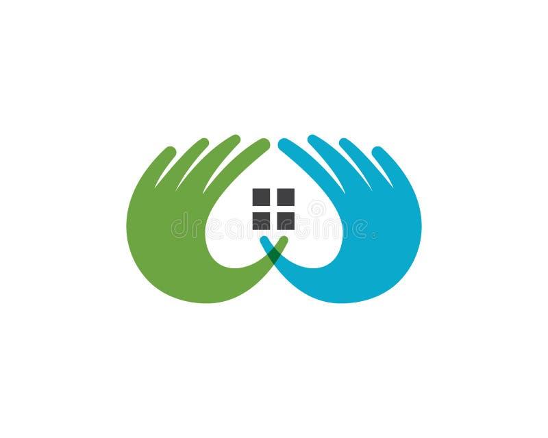 Cuidado Logo Template da mão ilustração royalty free