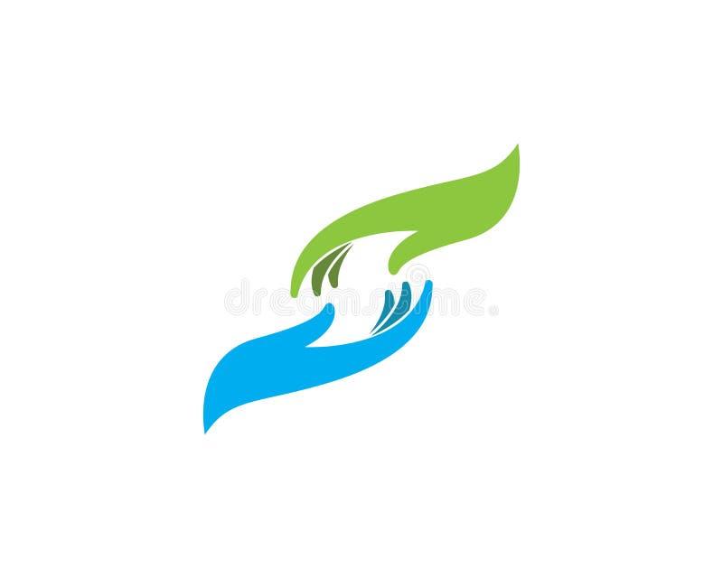 Cuidado Logo Template da mão ilustração do vetor