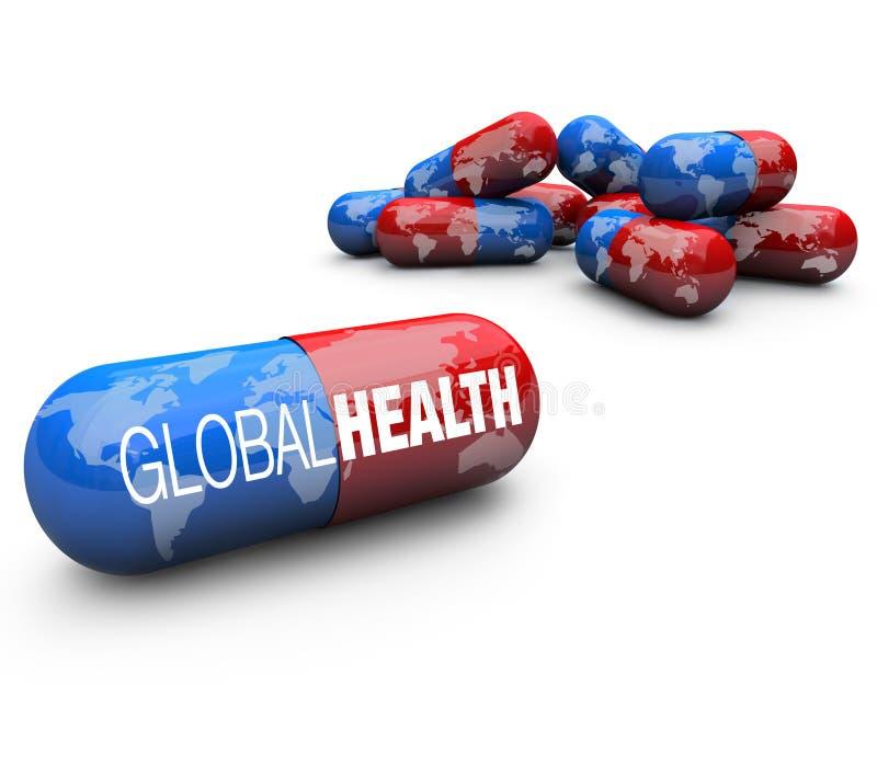 Cuidado médico global - píldoras de la cápsula ilustración del vector