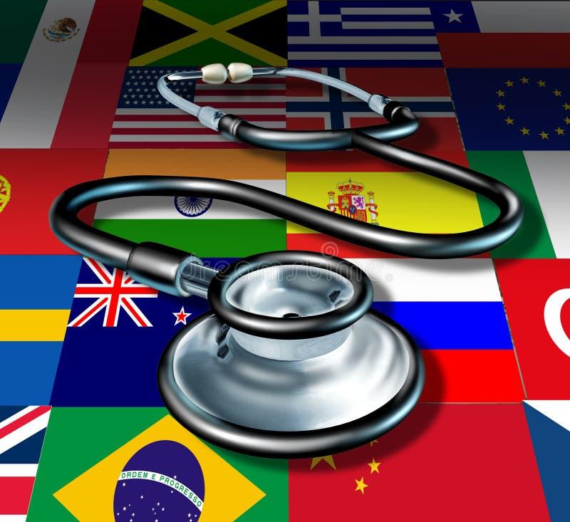 Cuidado médico internacional del estetoscopio de la medicina stock de ilustración