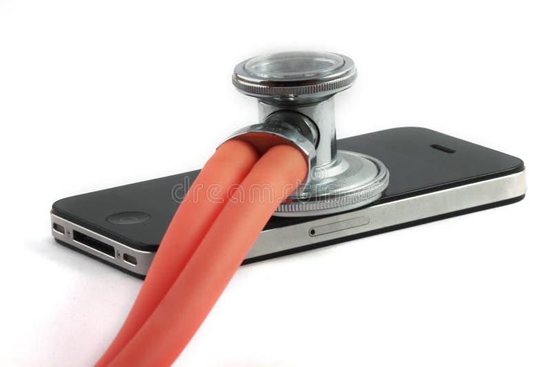Cuidado médico negro de IPhone 4 foto de archivo libre de regalías