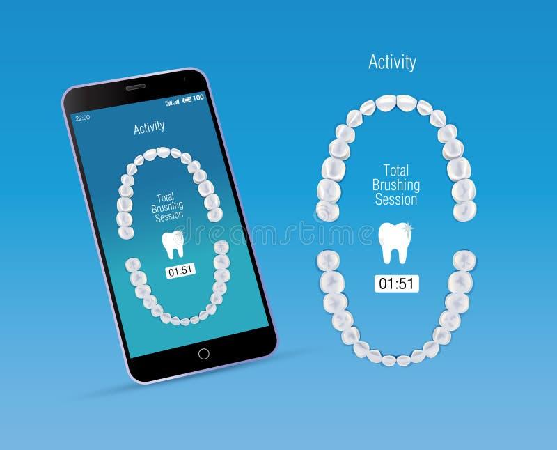 Cuidado Oral App Y Teléfono Móvil Ilustración del Vector ...