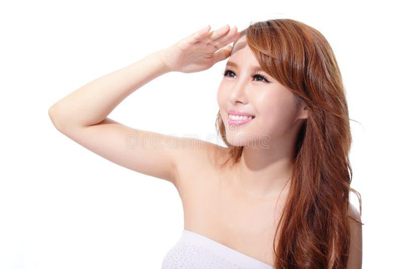 Cuidado UV e cara bonita da mulher foto de stock royalty free