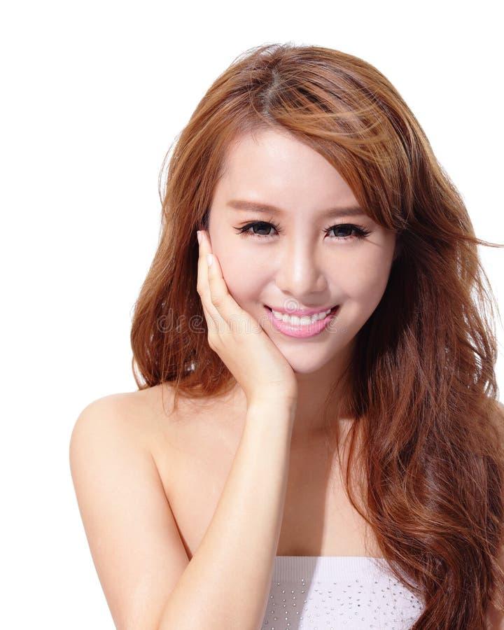 Cuidado UV e cara bonita da mulher fotografia de stock