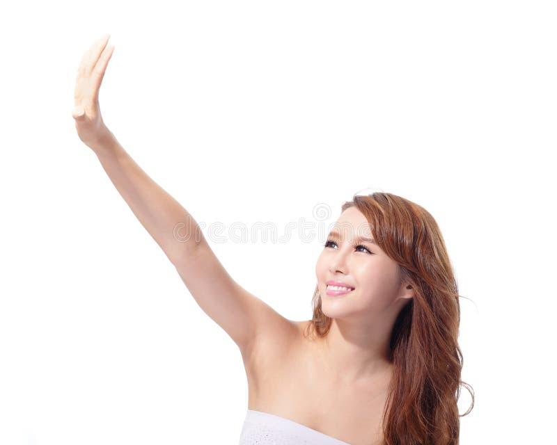 Cuidado UV e cara bonita da mulher foto de stock
