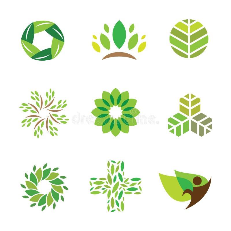 Cuidado verde da ajuda do eco da natureza para o ícone saudável do logotipo da vida ilustração royalty free