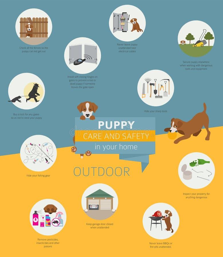 Cuidado y seguridad del perrito en su hogar outdoor Entrenamiento del perro casero adentro ilustración del vector