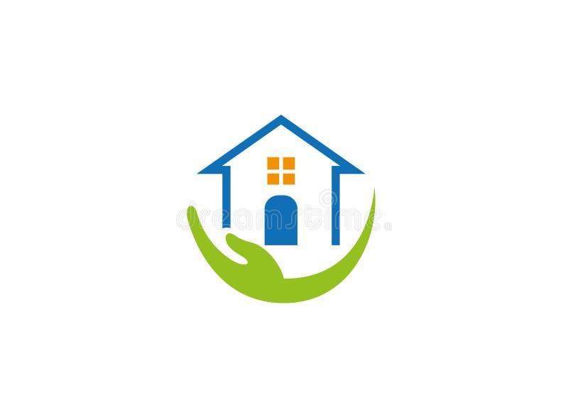 Cuidador de familia de la casa con la mano y el logotipo casero stock de ilustración