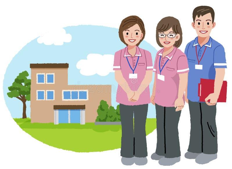 Cuidadores sonrientes con el fondo de la casa del oficio de enfermera ilustración del vector