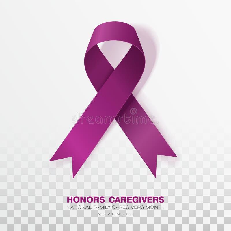 Cuidadors das honras M?s nacional dos cuidadors de fam?lia Fundo transparente de Plum Color Ribbon Isolated On Projeto do vetor ilustração stock
