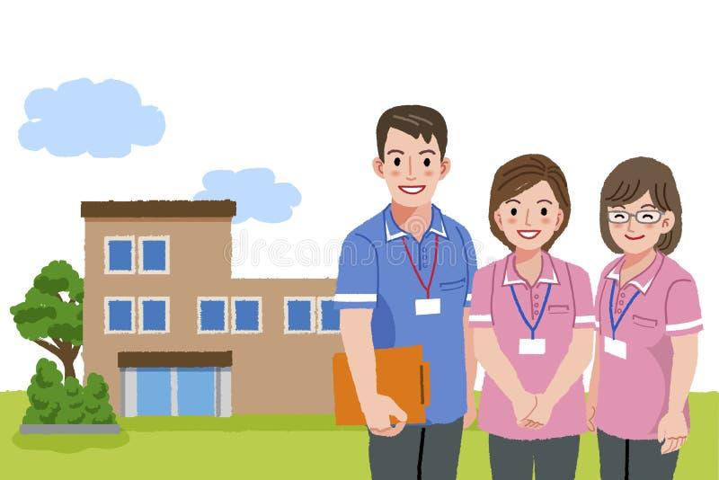 Cuidadors de sorriso com facilidade de cuidados ilustração stock