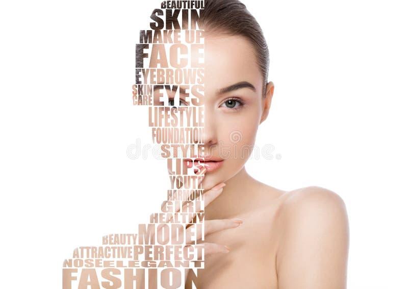 Cuidados com a pele naturais dos termas da composição da menina bonita da mulher imagem de stock royalty free