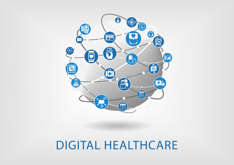 Cuidados médicos de Digitas infographic como a ilustração ilustração royalty free