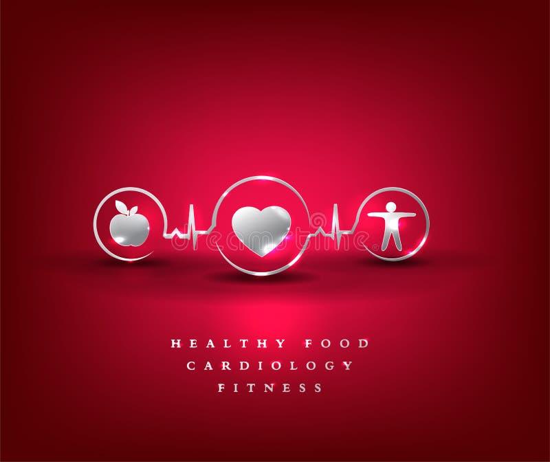 Cuidados médicos do coração, símbolo da saúde ilustração royalty free