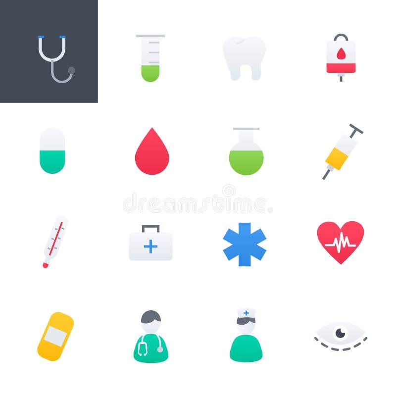 Cuidados médicos e ícones coloridos médicos ajustados, projeto da ilustração do vetor ilustração do vetor