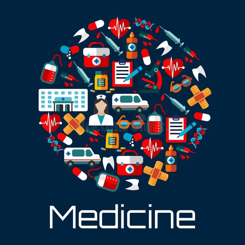 Cuidados médicos e ícones lisos da emergência do hospital ilustração stock