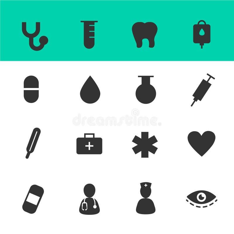 Cuidados médicos e ícones médicos vetor ajustado com fundo branco ilustração royalty free