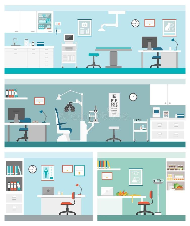 Cuidados médicos e clínicas ilustração stock