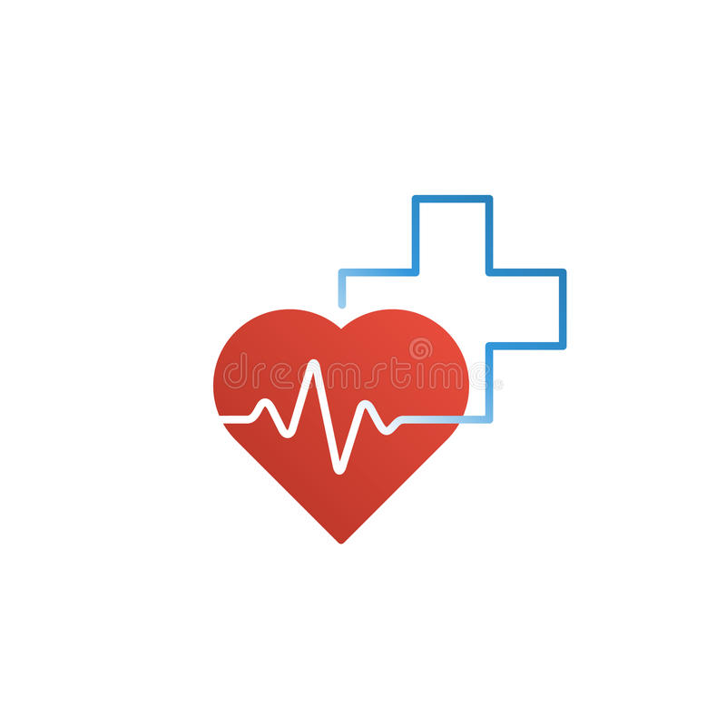 Cuidados médicos e conceito médico do logotipo e do ícone, coração e cruz, linha do pulso imagens de stock