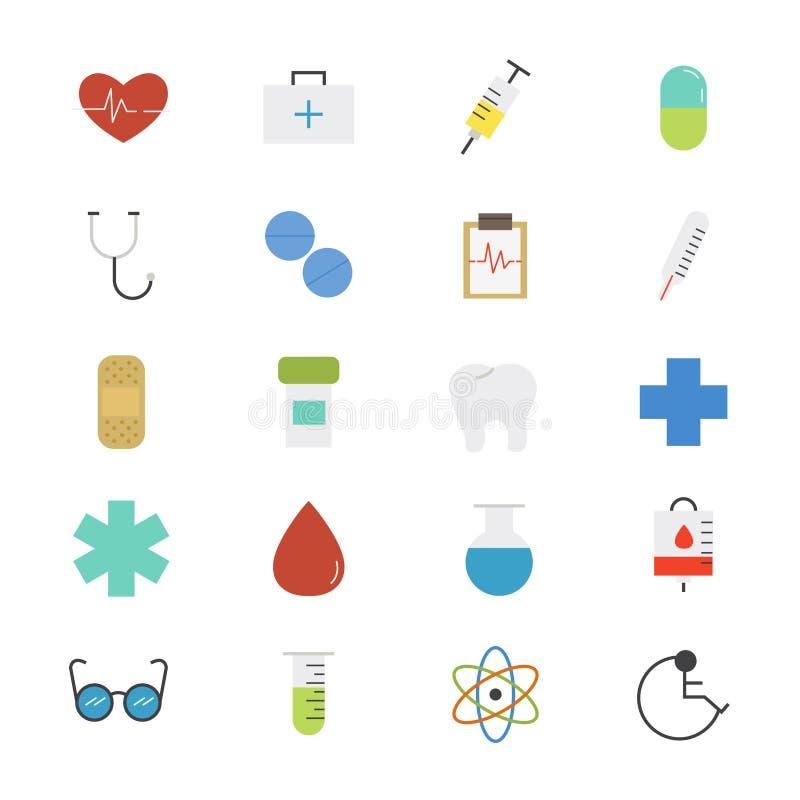 Cuidados médicos e cor lisa médica dos ícones ilustração royalty free