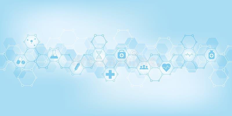 Cuidados médicos e fundo médico com ícones e símbolos lisos Conceito da tecnologia da ciência, da medicina e da inovação ilustração stock